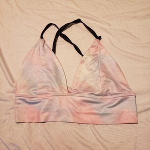 Zaful M triangle tie dye bikini top cross strap